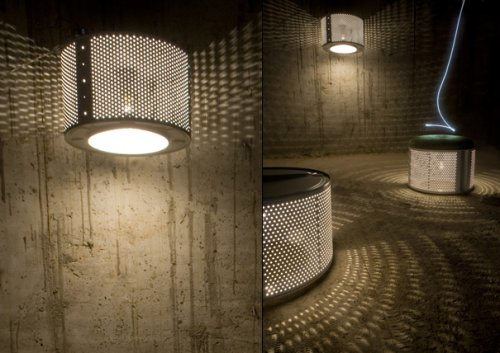 Индустриальный дизайн: лампа Wash Lamp сделана из барабана старой стиральной машины.