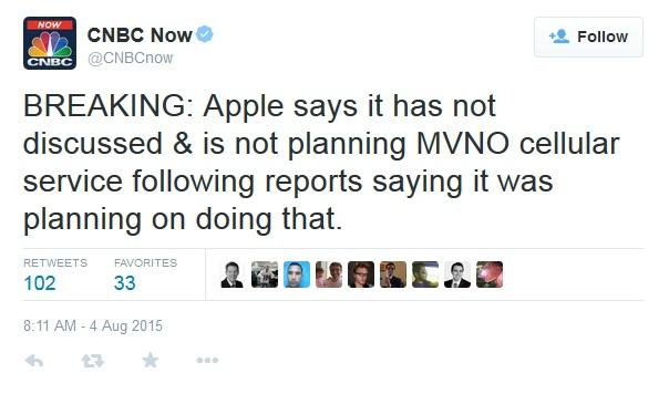Apple опровергла слух о создании собственного сервиса сотовой связи