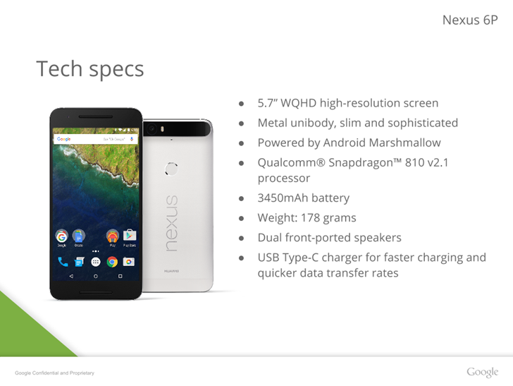 В сеть попалиы презентации Nexus 6P от Huawei