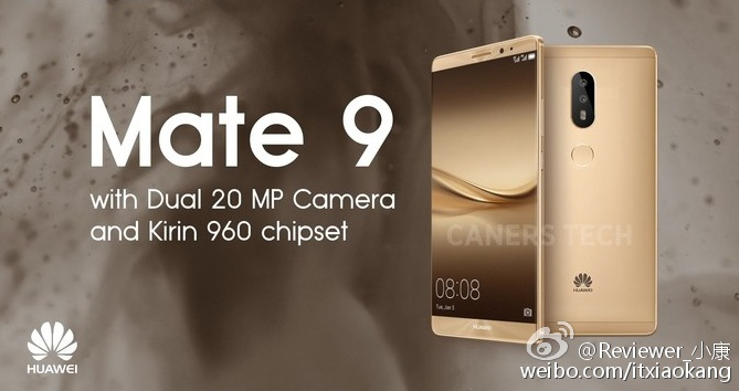Huawei Mate 9 сдвойной 20Мп камерой засветился напромо-рендере