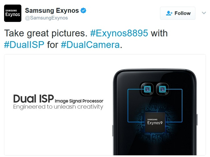 Промо Exynos 9 намекает надвойную камеру Самсунг Galaxy S8