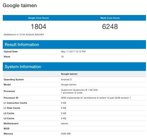 Смартфон Google Taimen с4 ГБОЗУ засветился вGeekbench