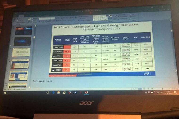Характеристики новых Intel Core i7 иCore i9 просочились вСеть