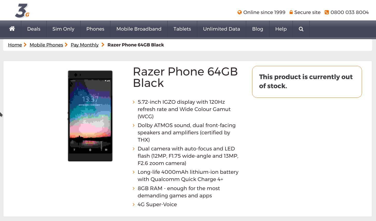 Razer Phone: всеть попали все характеристики «смартфона для геймеров»
