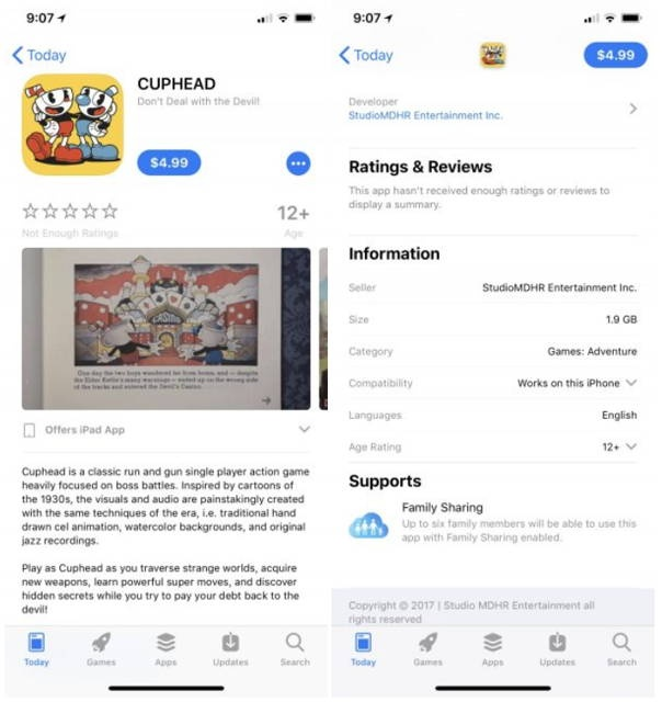 Для iPhone вышла пиратская версия игры Cuphead