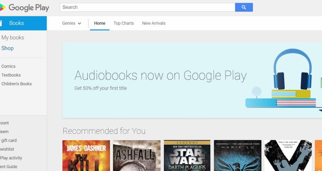 ВGoogle Play появились аудиокниги